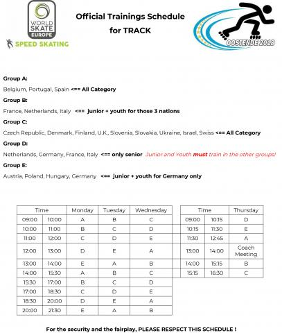 Training Schedule Track
